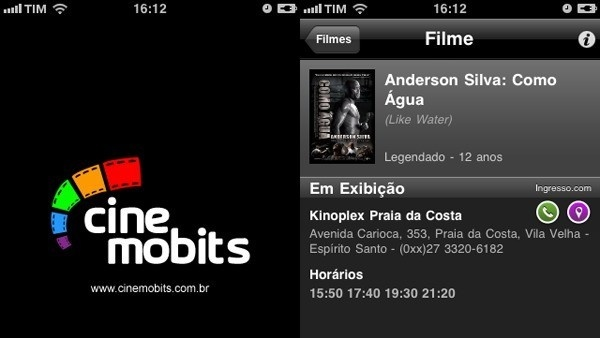 captura de tela do app Cine Mobits