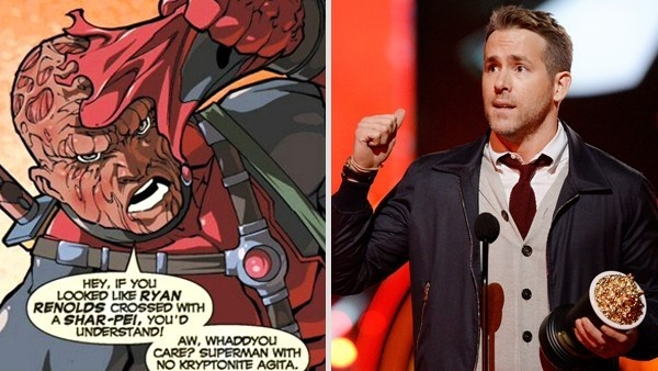 Deadpool na HQ, referindo sua aparência ser igual a Ryan Reynolds