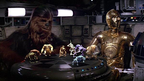 Chewbacca e C-3PO jogando Dejarik