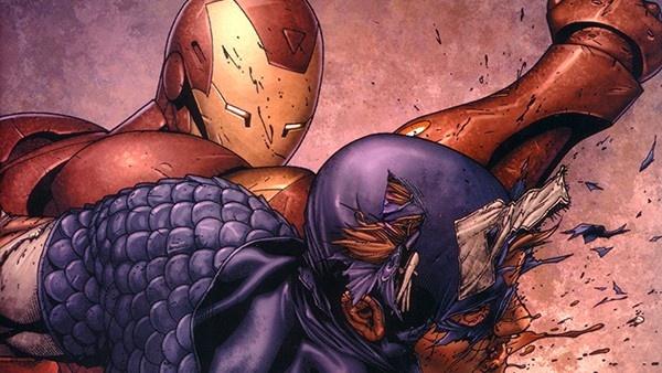 Homem de Ferro lutando contra Capitão América