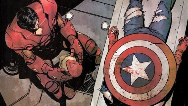 Homem de Ferro junto ao corpo de Capitão América