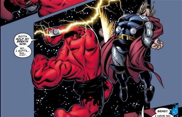 O Hulk Vermelho usando o Mjölnir no espaço