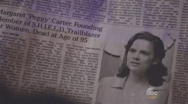 Obituário de Peggy Carter em Agents of SHIELD