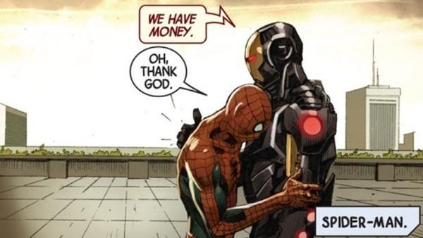 Quadrinho de Guerra Civil em que Homem de Ferro convence Homem-Aranha a se juntar ao seu time