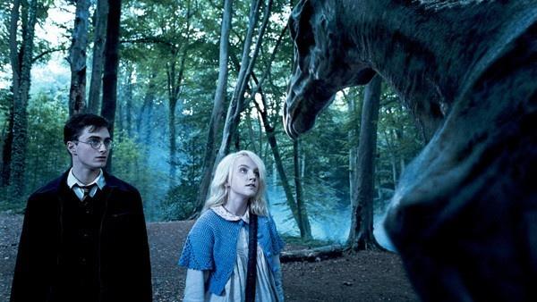 Luna e Harry junto a um Trestrálio