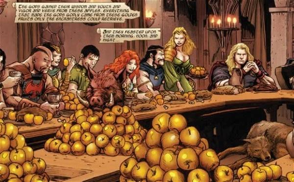 os deuses em seu banquete de maçãs douradas