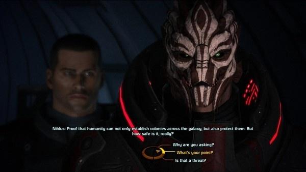 Exemplo de diálogo na trilogia anterior de Mass Effect