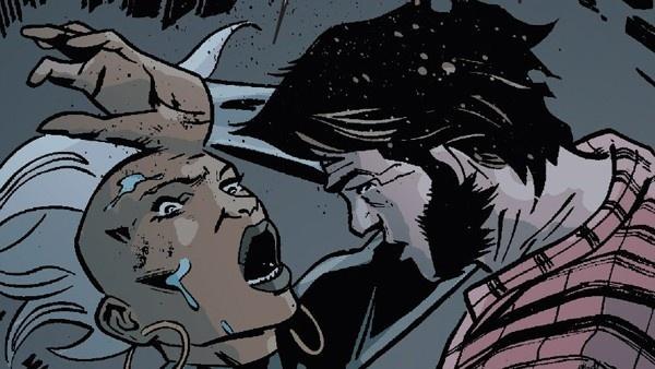 Ororo tendo um ataque de pânico e Wolverine a ajudando