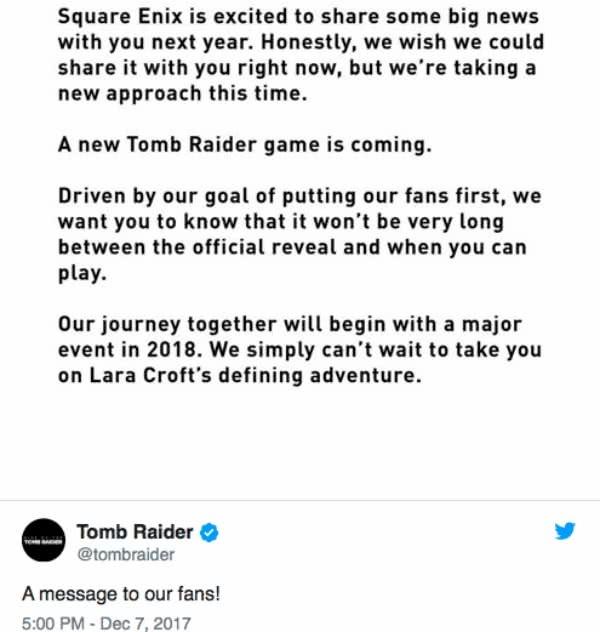Novo Tomb Raider será anunciado em 2018 e lançado pouco depois